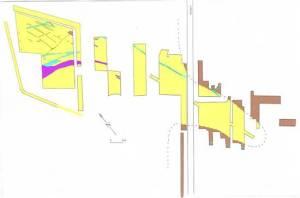 Velserbroek B6, opgraving 1991-1992, het zandlichaam (geel) in het omringend moeras (bruin) met karrensporen (paars) en greppels (blauw) en perceelsgreppels (donkergroen).